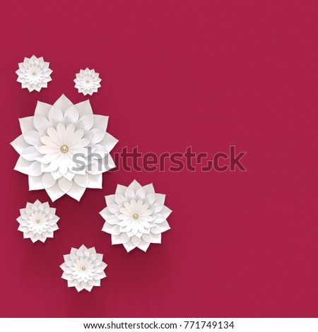3d illustration white bulk paper flowers stock illustration 3d illustration white bulk paper flowers on a claret background with place for text for mightylinksfo