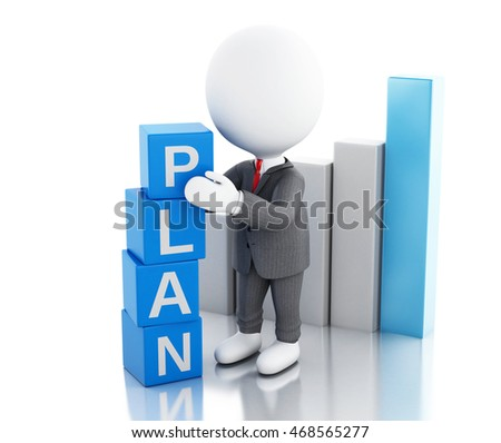 3d illustration. White business people with cubes with word plan. Business concept. Isolated white background
