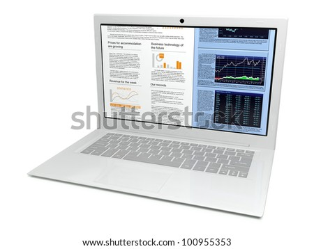3d illustration white laptop on a white background, isolate