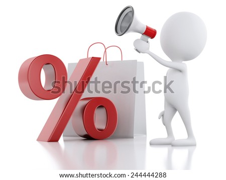 3d illustration. White man sale announcement with megaphone,  shopping bag and percent sign on white background