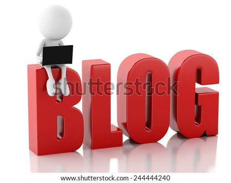 3d illustration. White man with  laptop and blog sign. News concept on white background