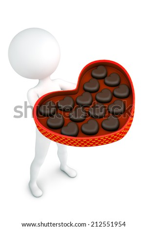 3d illustration white man with the box of chocolate candies - stock photo