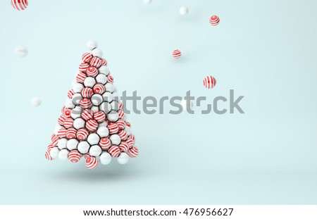 3D illustration - White pearls and red stripes balls Christmas tree