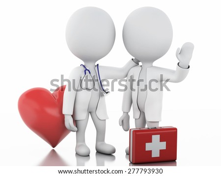 3d illustration. White people doctor with a stethoscope and first aid kit. Isolated white background - stock photo