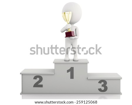 3d illustration. White people winner on sports podium with trophy. Isolated white background - stock photo