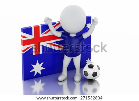 3d illustration. White people with Australia flag and soccer ball. Isolated white background - stock photo