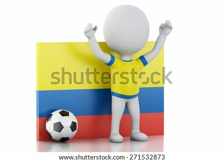 3d illustration. White people with Colombia flag and soccer ball. Isolated white background