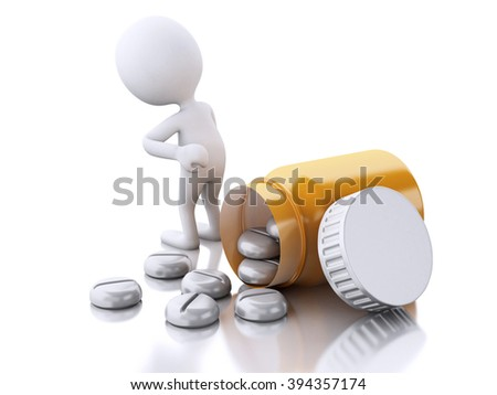 3D illustration. White people with headache need pills. Medicine concept. Isolated white background.