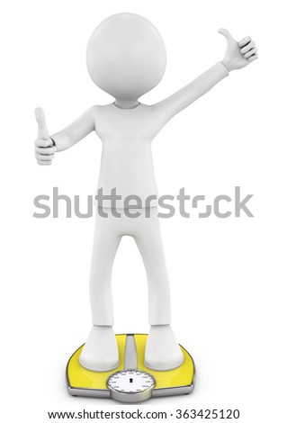 3d illustration. White people with ideal weight and scale. Isolated white background - stock photo