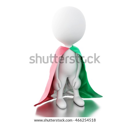 3d illustration. White people with Italy flag. Sport concept. Isolated white background.