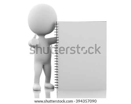 3D Illustration. White people with notepad page. Isolated white background.