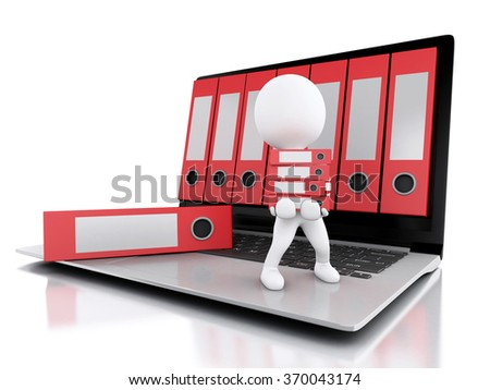 3d illustration. White people with office ring binders. Archive concept. Laptop and files on isolated white background - stock photo