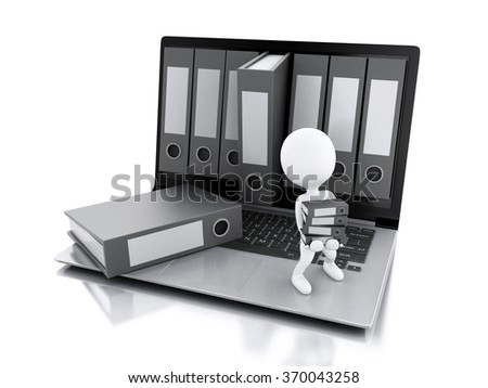3d illustration. White people with office ring binders. Archive concept. Laptop and files on isolated white background