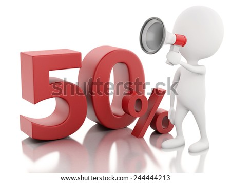 3d illustration. White people with red percent sign. discount concept on white background