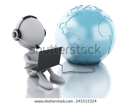 3d illustration. White person working on a laptop with headphones and earth globe, isolated white background. Global communication concept - stock photo