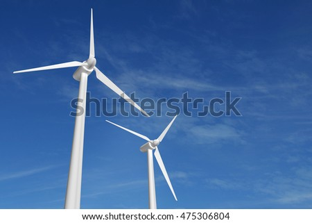 3D illustration wind turbine sustainable energy blue sky