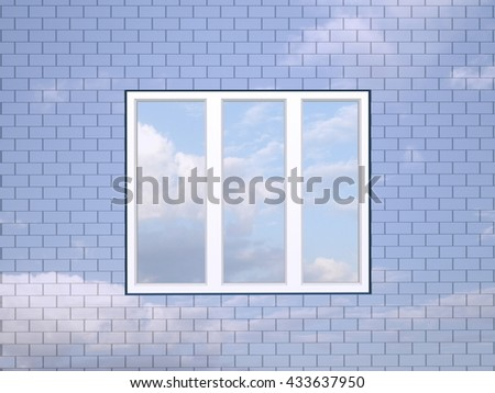 3D illustration. Window in a brick sky wall. - stock photo