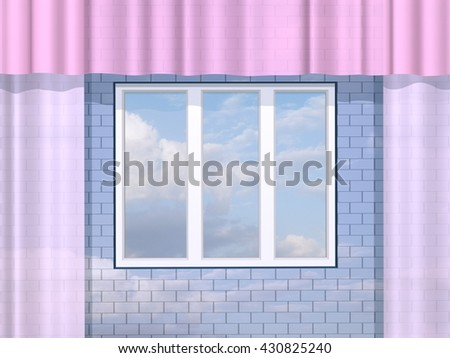 3D illustration. Window in a brick wall and clouds. - stock photo