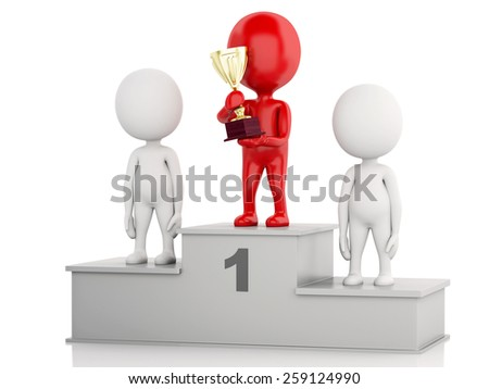 3d illustration. Winner celebrating on podium with trophy. Isolated white background