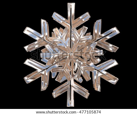 3D illustration. Winter silver colored snowflakes on a black background