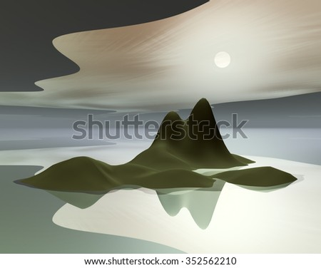 3D Illustration with concept of islands in the serene atmosphere and the moon shining in the background