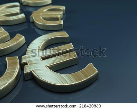 3D illustration with Euro symbol on blue-grey background - stock photo