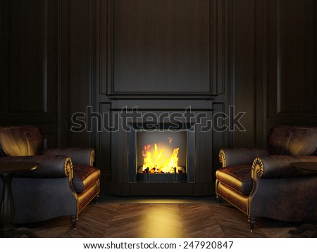 3d illustration wood panels armchairs and fireplace