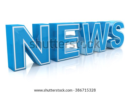 3D illustration word news on white isolated background in the design of the information related to the receipt of information from the Internet - stock photo