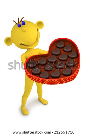 3d illustration yellow man with the box of chocolate candies - stock photo