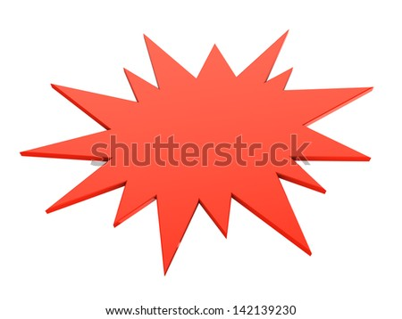3d illustrations of red bursting star isolated on white - stock photo