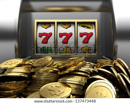 3d illustrations of slot machine win line and prize - stock photo