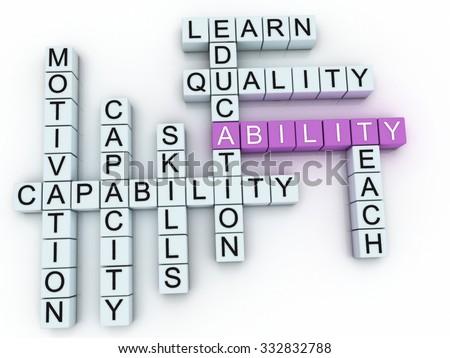 3d image Ability word cloud concept - stock photo