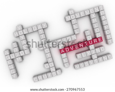 3d image Adventure  issues concept word cloud background