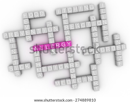 3d image Allergy  issues concept word cloud background - stock photo