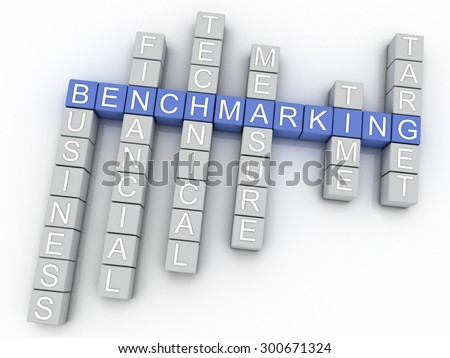 3d image Benchmarking issues concept word cloud background - stock photo