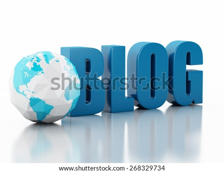 3d image. blog and low poly earth globe. Network Communications concept. Isolated white background - stock photo