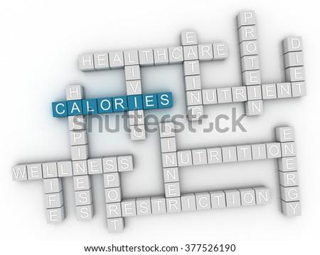3d image Calories word cloud concept - stock photo