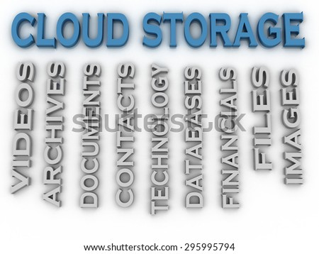 3d image Cloud storage issues concept word cloud background - stock photo
