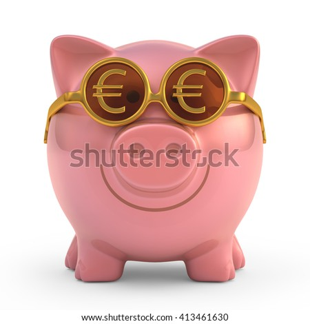 3D image concept of a piggy bank wearing sunglasses with Euro money sign. Clipping path included.