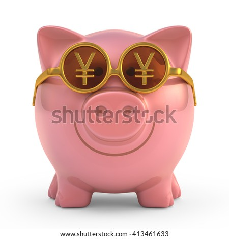 3D image concept of a piggy bank wearing sunglasses with Japanese yen sign. Clipping path included.