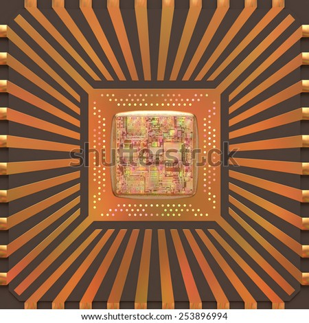 3D image concept of an expansion of the microchip's core. - stock photo