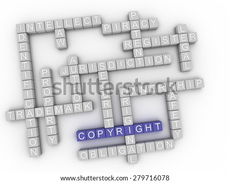 3d image Copyright  issues concept word cloud background - stock photo