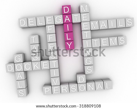 3d image Daily word cloud concept