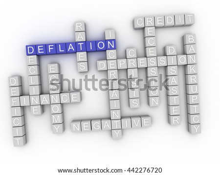 3d image Deflation word cloud concept - stock photo
