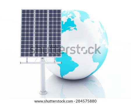 3d image. Earth globe with solar panels, alternative energy. Concept for ecology. Isolated white background - stock photo