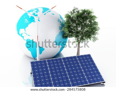 3d image. Earth globe with wind turbines and solar panels, alternative energy. Concept for ecology. Isolated white background