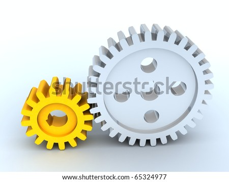 3d image. Gears from silver and yellow plastic