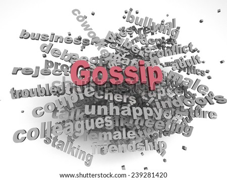 3d image Gossip issues concept word cloud background - stock photo