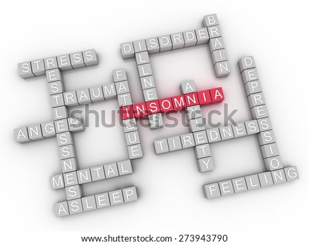 3d image Insomnia  issues concept word cloud background