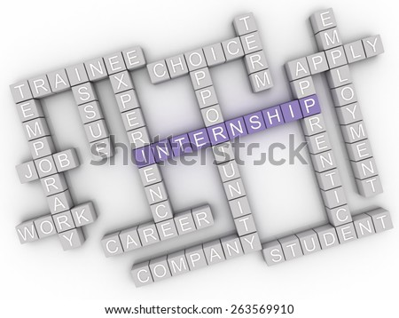 3d image Internship  issues concept word cloud background - stock photo